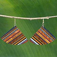 Wood dangle earrings, 'Striped Fans'