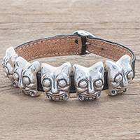 Leather accent sterling silver pendant bracelet,