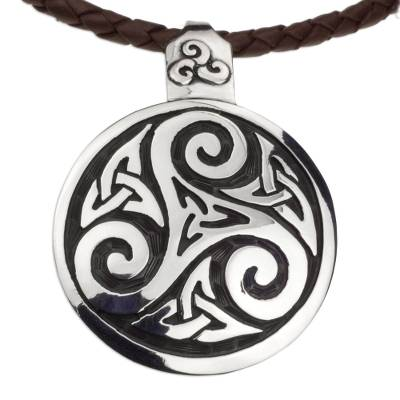Sterling silver and leather pendant necklace, 'Celtic Triskelion' - Fair Trade Celtic Handcrafted Brown Leather Silver Necklace