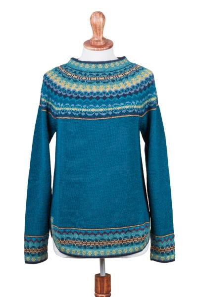 100% alpaca sweater, 'Playful Teal' - Teal & Blue 100% Alpaca Pullover Patterned Peruvian Sweater