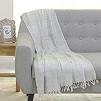 Silk throw blanket, 'Smoky Waves' - Antique White and Grey 100% Silk Geometric Throw Blanket