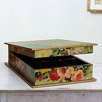 Decoupage jewelry box, 'Butterfly Garden' - Romantic Decoupage Jewelry Box with Mirror