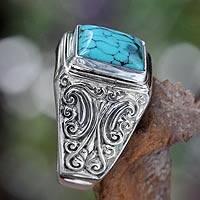 Sterling silver ring, 'Sky Crown' - Unisex Sterling Silver and Reconstituted Turquoise Ring
