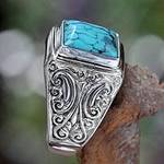 Unisex Sterling Silver and Reconstituted Turquoise Ring, 'Sky Crown'