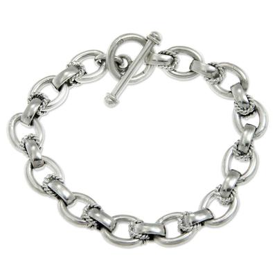 Sterling silver link bracelet, 'Brave Lady' - Modern Sterling Silver Link Bracelet