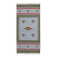 Wool dhurrie rug, 'Creative Fusion' (5.5x7.5)