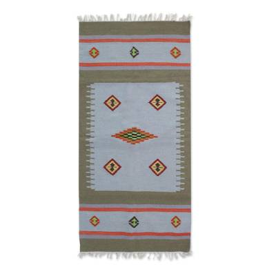 Wool dhurrie rug, 'Creative Fusion' (5.5x7.5) - Handwoven Wool Dhurrie Rug from India (5.5x7.5)