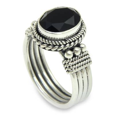 Onyx crown ring, 'Bali Glow' - Sterling Silver and Onyx Ring