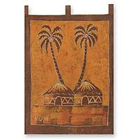 Batik wall hanging, 'Sankofa Aklowa' - African Cotton Batik Folk Art Wall Hanging