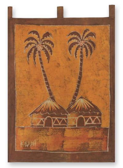 Batik wall hanging, 'Sankofa Aklowa' - African Cotton Batik Folk Art Wall Hanging