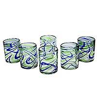 Blown glass rocks glasses, 'Elegant Energy' (set of 6) - Set of 6 Hand Made Blown Glass Rocks Glass in Blue and Green