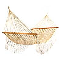 Hammock, 'Breezy Ropes' (single) - Hand Woven Nylon Rope Hammock in Ecru (Single) from Mexico
