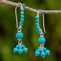 Calcite beaded dangle earrings,