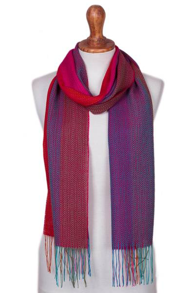 Baby alpaca blend scarf, 'Color Play' - Baby Alpaca Blend Multicolored Striped Scarf from Peru