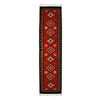 Wool runner, 'Mesmerizing Zapotec' (2.5x10) - Handwoven Zapotec Wool Runner Rug from Mexico (2.5x10)