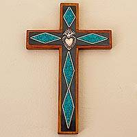 Chrysocolla and copper wall cross, 'Chrysocolla Cross' - Chrysocolla Copper Bronze Wood Cross Wall Decor from Peru