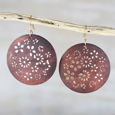 Ebony wood dangle earrings, 'Bountiful Garden' - Handcrafted Ebony Wood and Brass Floral Dangle Earrings