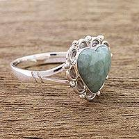 Jade heart ring, 'Zinnia Love' - Jade Hearts on Sterling Silver Handcrafted Ring