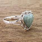 Jade Hearts on Sterling Silver Handcrafted Ring, 'Zinnia Love'