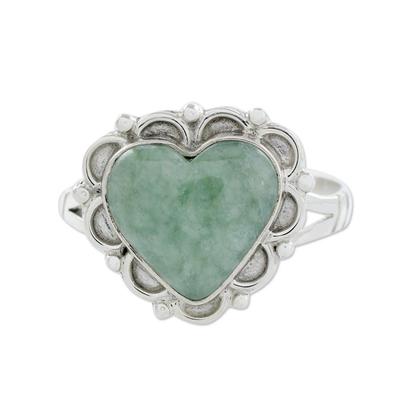 Jade heart ring, 'Zinnia Love' - Jade Hearts on Sterling Silver Handcrafted Ring