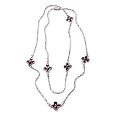 Garnet flower long necklace, 'Red Frangipani' - Floral Sterling Silver and Garnet Necklace