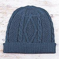 100% alpaca hat, 'Azure Braid' - Knitted Unisex Watch Cap in Azure 100% Alpaca from Peru