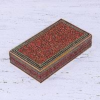 Wood decorative box, 'Kashmir Orchard' - Hand Painted Floral Decorative Wood Box