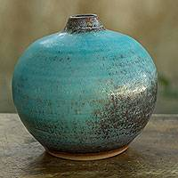 Featured review for Ceramic bud vase, Turquoise Realm (medium)