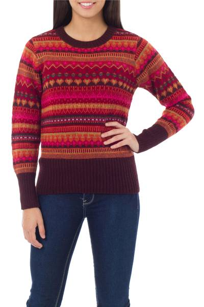 100% alpaca sweater, 'Fiesta in Cuzco' - Alpaca Wool Art Knit Pullover Sweater