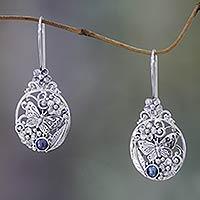 Cultured peacock pearl drop earrings, 'Frangipani Butterfly'