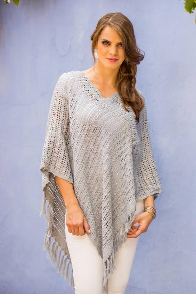 Cotton poncho, 'Grey Lattice' - Natural and Upcycled Cotton Grey Poncho Woven By Hand