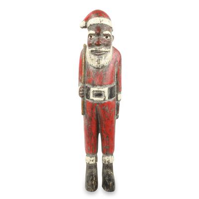 Wood Sculpture, 'Father Christmas' - Unique Santa Claus African Christmas Sculpture