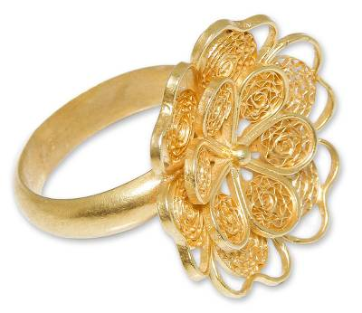 Gold plated filigree flower ring, 'Yellow Rose' - Collectible Gold Plated Filigree Cocktail Ring
