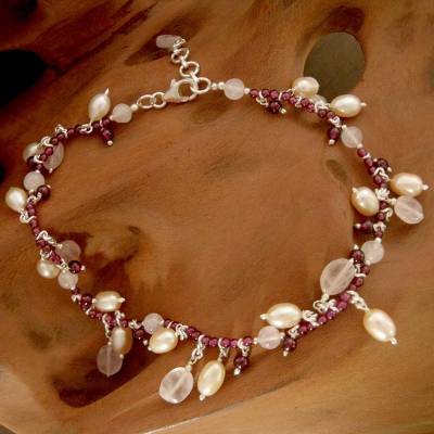 Pearl and garnet anklet, 'Dancing Rose' - Pearl Garnet and Rose Quartz Anklet Crafted in India