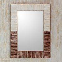 Bone wall mirror, 'Abstract Memories' - Natural Two-Toned Water Buffalo Bone Framed Wall Mirror