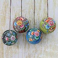 Papier mache ornaments, 'Floral Beauty' (set of 4) - Hand Painted Multicolored Floral Ornaments (Set of 4)