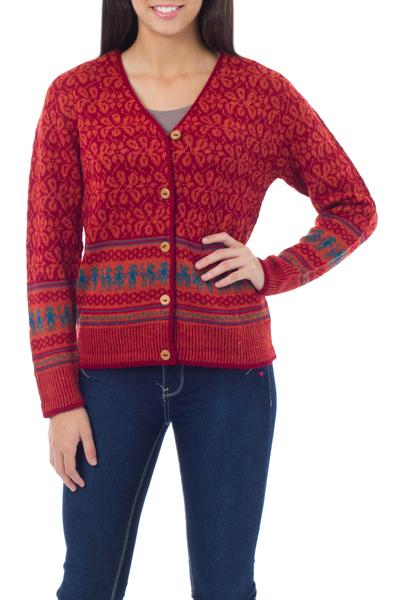 100% alpaca cardigan, 'Alpaca Fantasy' - Fair Trade Alpaca Wool Button Up Cardigan