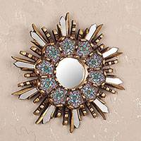 Wood and reverse painted glass wall mirror, 'Cuzco Meadow' - Round Wall Mirror with Floral Reverse Painted Glass