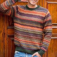 Men's 100% alpaca sweater, 'Andean Homeland'