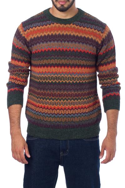 Men's 100% alpaca sweater, 'Andean Homeland' - Multicolor Alpaca Men's Sweater with Forest Green