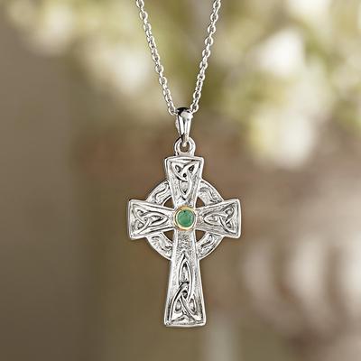 Celtic Cross Emerald Necklace