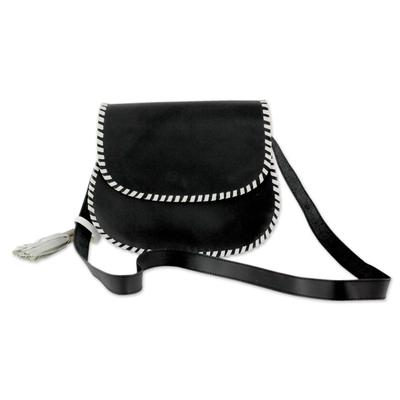 Black Leather Shoulder Bag with White