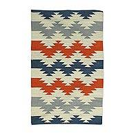 Wool area rug, 'Geometric Zigzag' (3x5) - Zigzag Motif Handwoven Wool Area Rug (3x5) from India