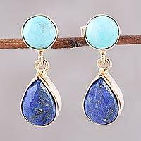 Gold plated lapis lazuli and magnesite dangle earrings, 'Tide Pools'
