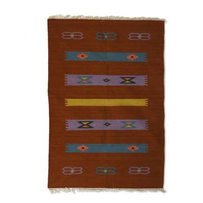 Wool area rug, 'Sepia Delight' (4x6) - Hand Woven 100% Wool Multicolor 4x6 Area Rug from India