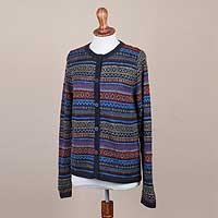 100% alpaca cardigan, 'Cozy Midnight' - 100% Alpaca Cardigan with Buttons from Peru