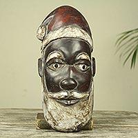 African wood mask, 'Ghanaian Santa Claus'