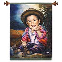 Wool tapestry, 'Give Me Five!' - Wool tapestry