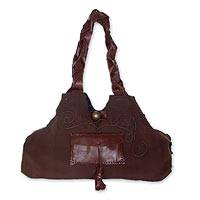 Cotton handbag with leather trim, 'Chocolate Brown' - Leather and Cotton Handbag in Brown
