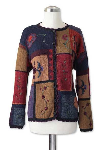 Alpaca blend sweater, 'Floral' - Alpaca Blend Sweater with Floral Embroidery